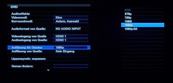 """H/K AVR-255 """"Einstellungen"""" 1080p/24 bzw. 1080p/60, Harman ..."""