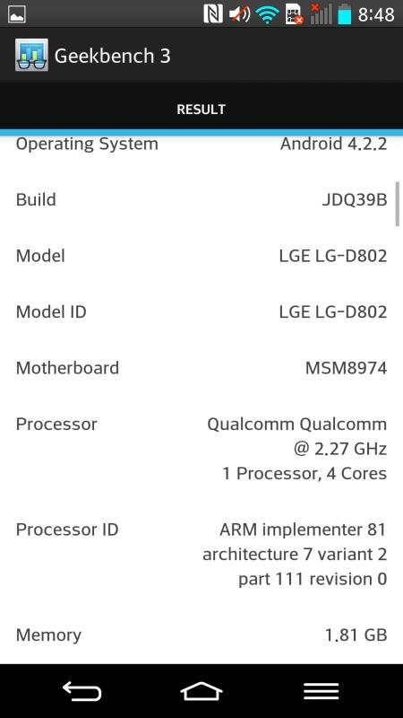 Benchmark LG G2 3