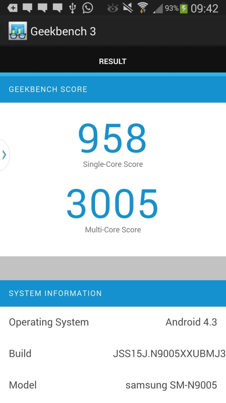 Benchmark Samsung Galaxy Note3 3