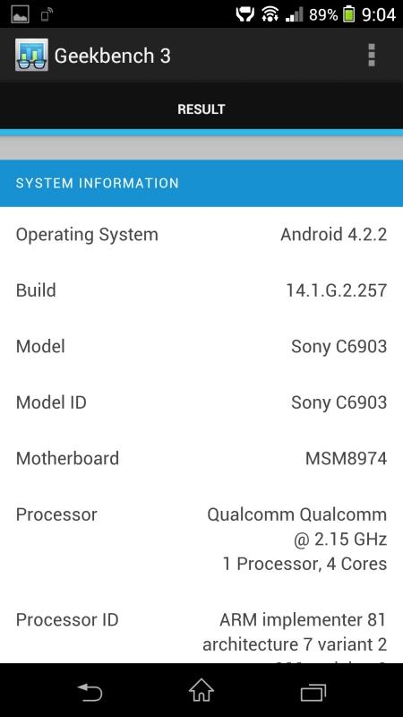 Benchmark Sony Xperia Z 3