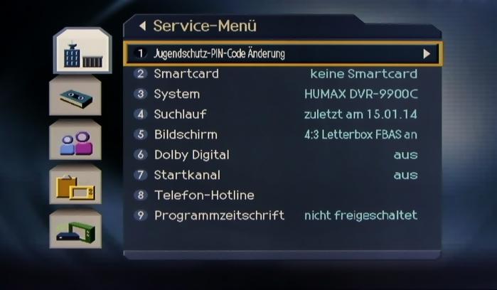 Humax DVR-9900C Menuebild4