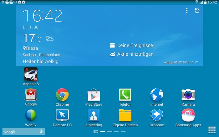 Samsung Galaxy Tab Pro Hauptmenü