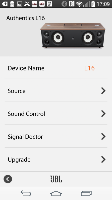 JBL Authentics L16_neu_App_Android_Menue