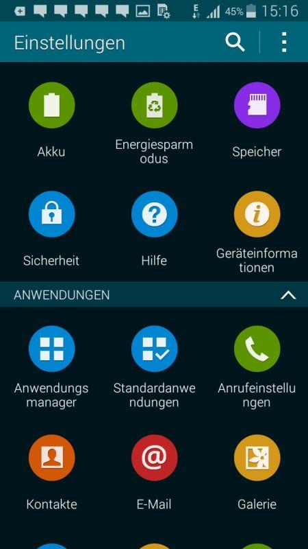 Samsung Galaxy S5 mini Einstellungen