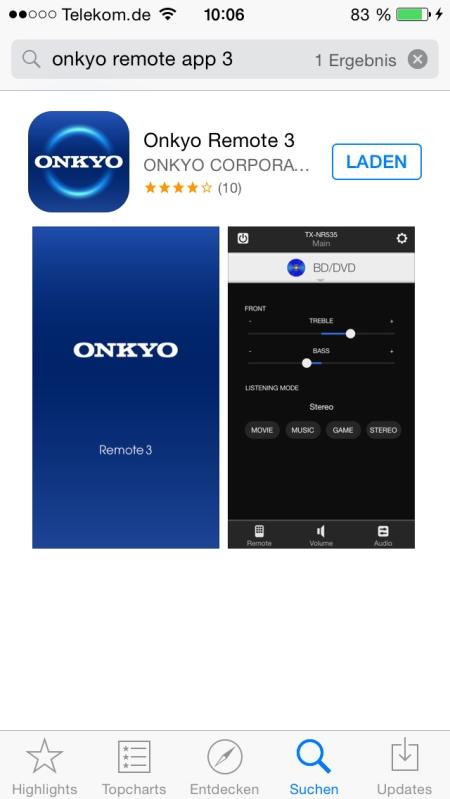 Onkyo Remote 3 App 1