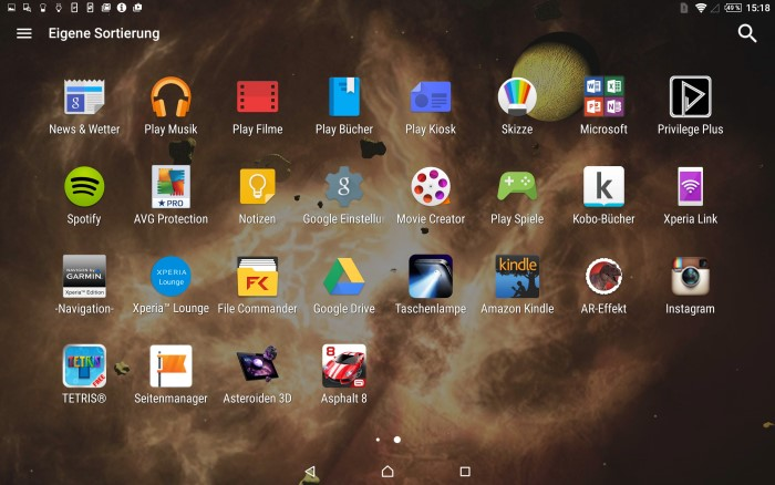 Sony Xperia Z4 Tablet Menü