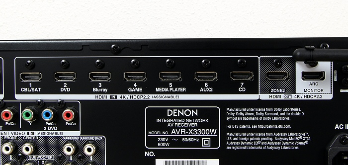 Denon AVR-X3300W Anschluesse Rueckseite3