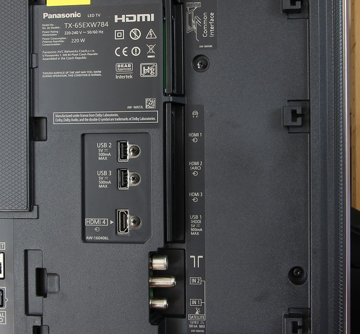 Panasonic TX-65EXW784 Anschluesse Rueckseite1