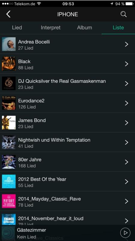 Quadral Breeze App iPhone Wiedergabelisten