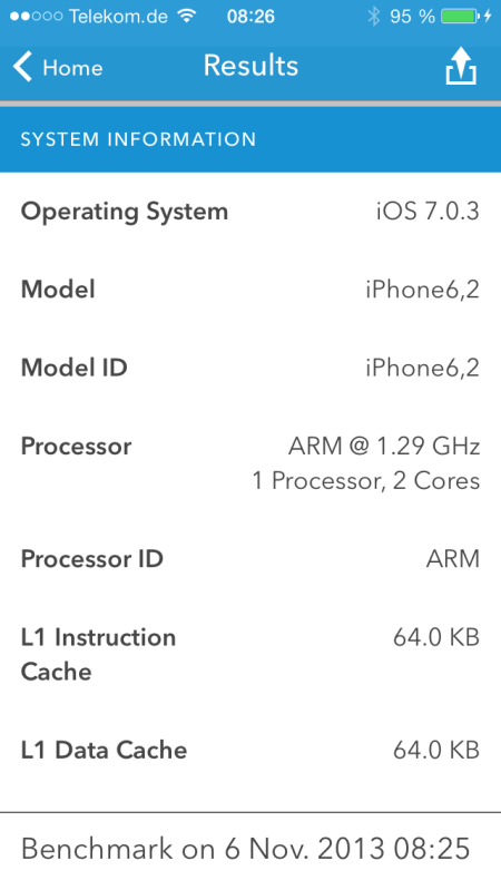Apple iPhone5S Geekbench System Information