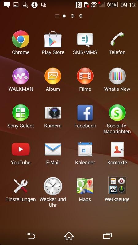 Sony Xperia Z2 Hauptmenu