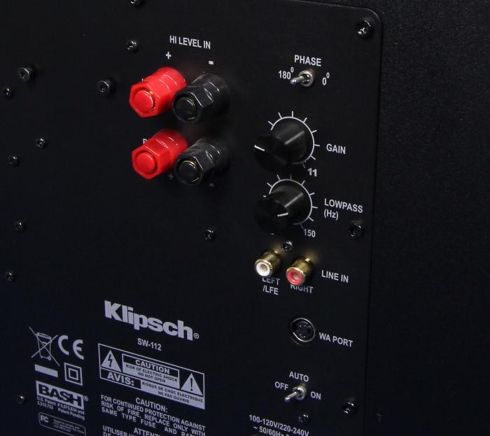 Klipsch SW-112 Anschluesse Bedienelemente Rueckseite