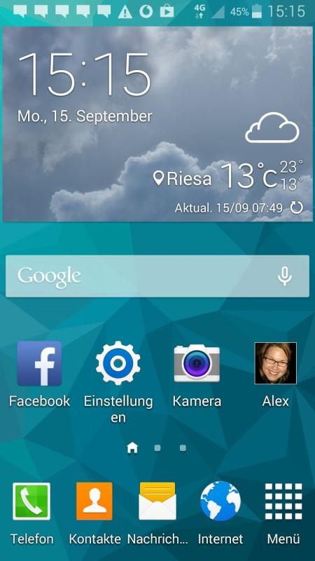 Samsung Galaxy S5 mini Hauptmenü