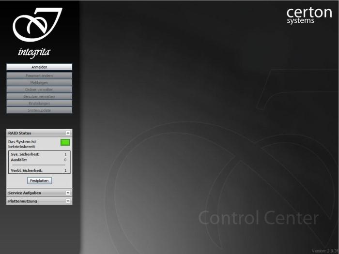 Certon Integrita C4 Startbildschirm