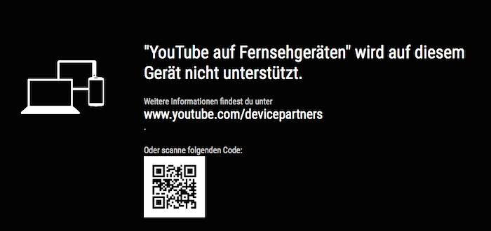 YouTube TV Fehlermeldung