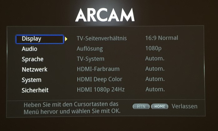arcam_udp411_menu1