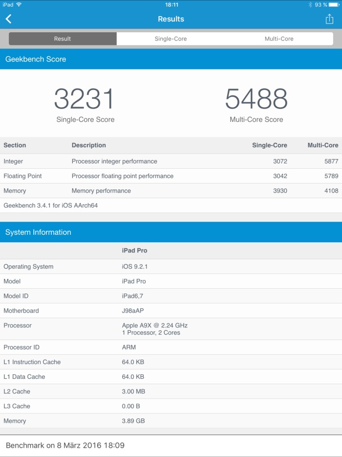 Apple iPad Pro Screenshot Geekbench