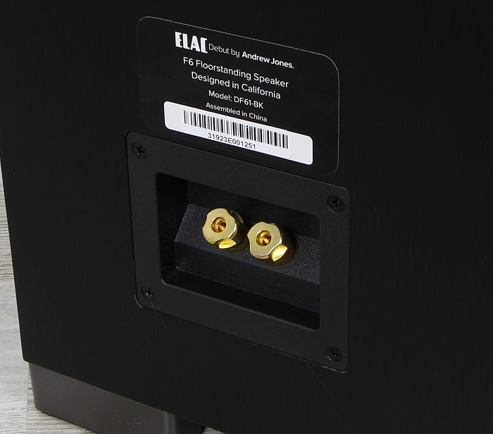 Elac Debut F6 Anschluesse Rueckseite