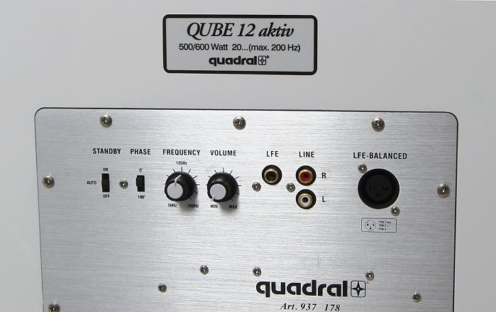 Quadral Qube 12 Bedienelemente Rueckseite