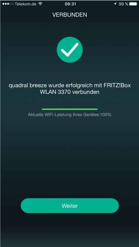 Quadral Breeze App verbunden