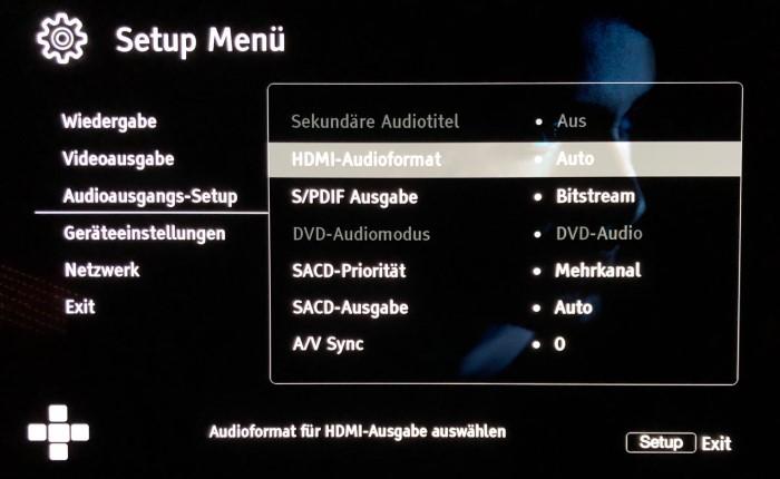 Cambridge Audio CX UHD Audiomenu