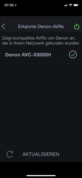 Denon AVC-X8500H AVR App erkannte Geraete